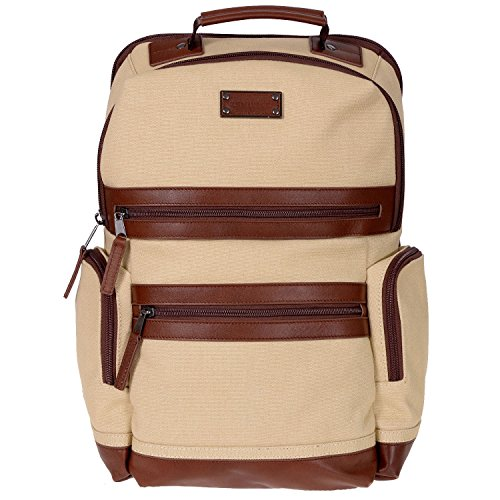 Renwick Business Backpack with Genuine Leather Trim, Cream