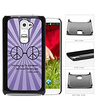 Dreamer John Lennon Quote with Peace Hippie Sunglasses (Purple Swirls) LG G2 Hard Snap on Plastic Cell Phone Cover