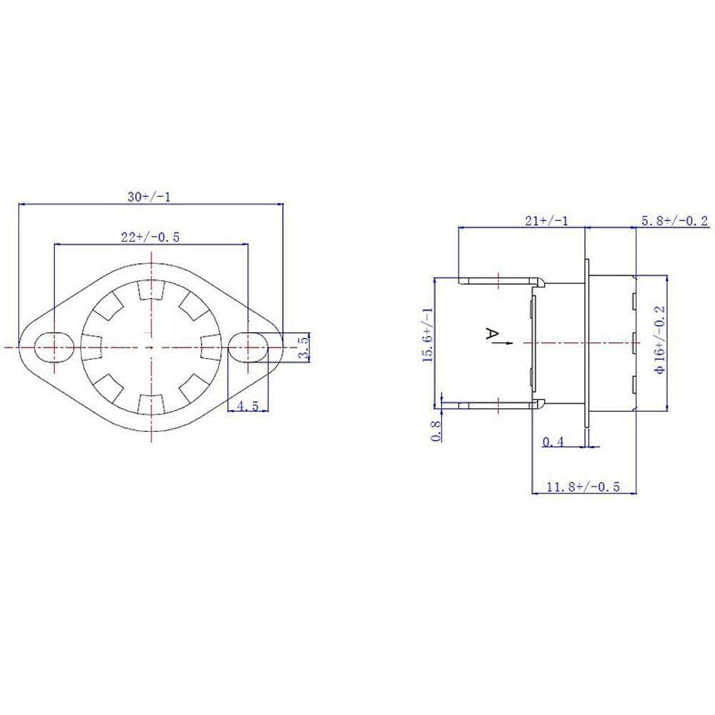 115℃ 5 piezas KSD301 Interruptor Sensor de Temperatura Control Termostato Interruptor de Hierro de Pl/ástico T/érmico 250V10A NO