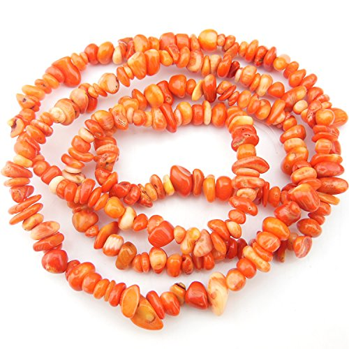 COIRIS 2 Strands 33'' Strand 5-8MM Natural Coral Loose Chips Stone Gemstone Beads for Jewelry DIY or Making & Design (St-1052)