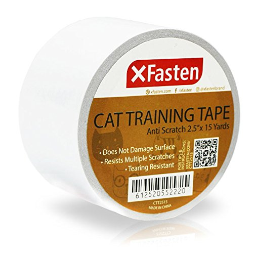 XFasten Anti-Scratch Cat Training Tape 2.5-Inches x 15 Yards, Clear