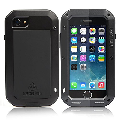 Apple iphone 7 Plus case,Feitenn Water Resistant Armor Tank Aluminum Metal Bumper Gorilla Glass Soft Rubber Military Heavy Duty Shockproof Hard Case For iphone 7 Plus 5.5inch (Black)