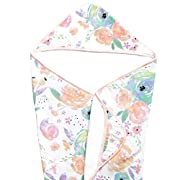 Muslin Hooded Bath Towel for Baby or Toddler with Terry Cloth Interior 33 inches  Bloom Floral