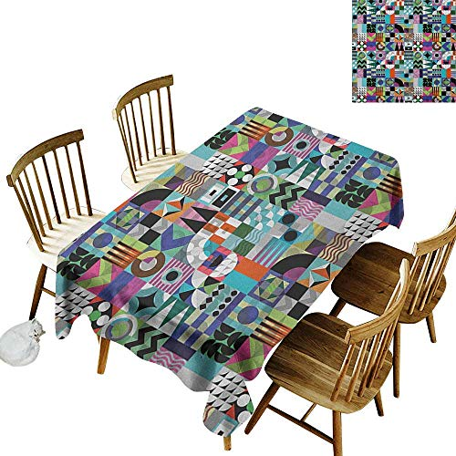 (kangkaishi Washable Long Tablecloth Dinner Picnic Home Decor Mix of Various Different Geometric Shapes in Squares Funky Sixties Revival W60 x L84 Inch Multicolor)