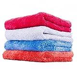 (4-Pack) Thr Rag Company 16 in. x 16 in. Eagle Edgeless Mix Pack (2 Blue, 2 Orange) Professional Korean 70/30 Super Plush 480gsm Microfiber Detailing Towels