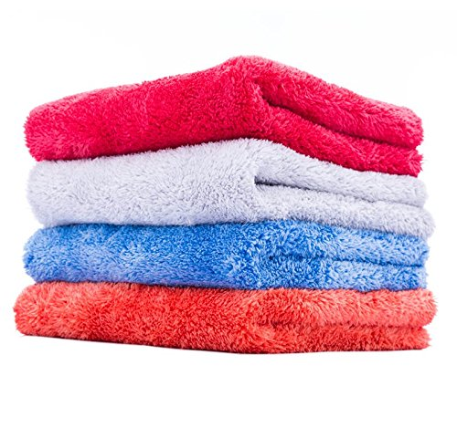 THE RAG COMPANY (4-Pack) 16 in. x 16 in. EAGLE EDGELESS 500 Mix Pack (1 Each Red, Blue, Orange, Ice Grey) Professional Korean 70/30 Super Plush 500gsm Microfiber Detailing Towels (16x16, Mixed)