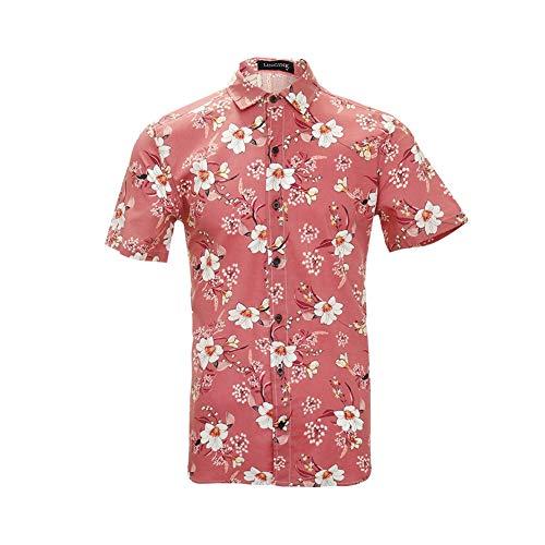 - LINCINK Men's Flower Shirt Casual Button Down Short Sleeve Hawaiian Shirt Rose Pink
