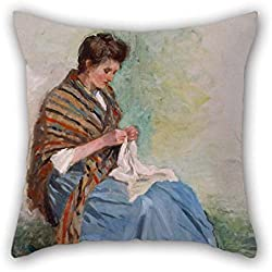 Throw Pillow Covers 20 X 20 Inches / 50 By 50 Cm(two Sides) Nice Choice For Kitchen Wedding Teens Boys Home Office Festival Oil Painting Asai Chu - Woman Sewing