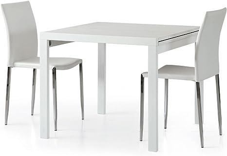 Tavolo Quadrato Allungabile Bianco.Spazio Casa Tavolo Quadrato Bianco Frassinato Allungabile 90 X