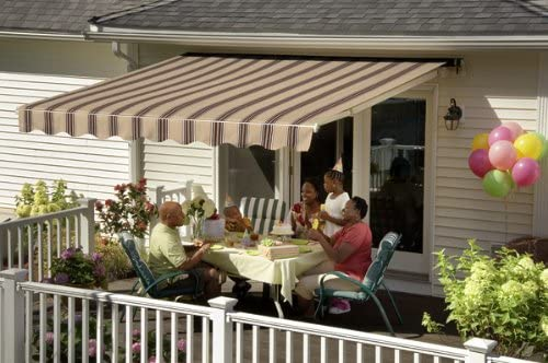 Sunsetter Awning, Motorized Retractable Awning with Saddle Acrylic Fabric, 13ft.