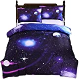 Alicemall Blue Galaxy Bedding Twin Shinning Stars Outer Space Microfiber 4-Piece Duvet Cover Set, No Comforter (Twin)