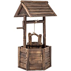 BestMassage Wishing Well Bucket Garden Wooden Planter Outdoor Patio Flower Wedding Party Decoration Garden Lawn Home Decor