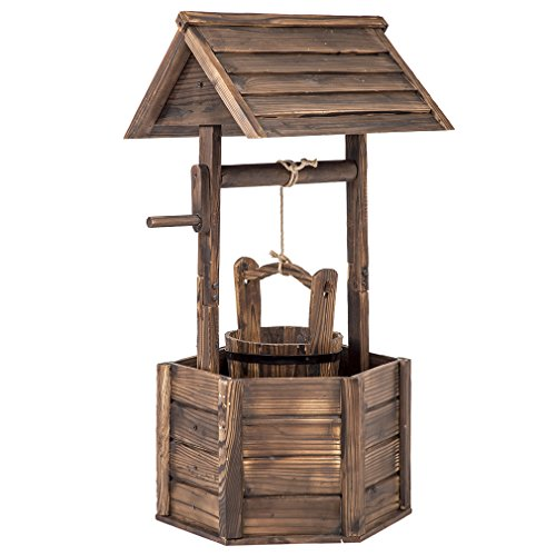 BestMassage Outdoor Wooden Wishing Well Bucket Flower Plants Planter Yard Garden Home Decor by BestMassage