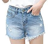 Smibra Womens Juniors Hot Shorts Casual Mid Waist Raw Hem Ripped Distressed Jeans
