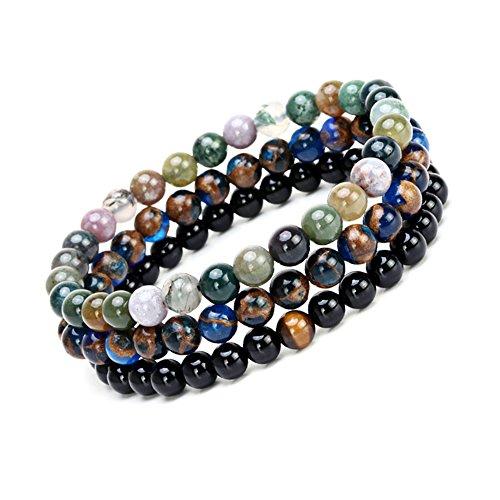 SEVENSTONE 2PCS Black Matte Onyx Prayer Beads Bracelet for Men Women Elastic Natural Stone (D 2PCSs)