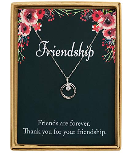 Monily 925 Sterling Silver Interlocking Three Ring Circle CZ Pendant Necklace Friends Gift Birthday Gift