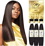 100% HUMAN HAIR - OUTRE MYTRESSES GOLD LABEL - NATURAL STRAIGHT WEAVE 12' 14' 16' - 1 PACK SOLUTION (12'14'16', Natural Black)
