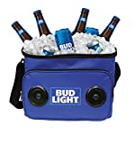 Bud Light Soft Cooler Bluetooth Speaker Travel Cooler with Built in Speakers BudLight Wireless Speaker for Bluetooth enabled Devices Apple iPhone, Samsung Galaxy, Etc Stereo Sound for Beer food Drinks