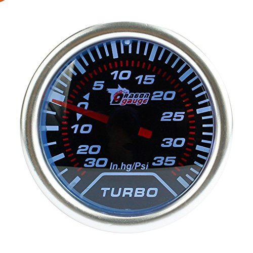 auge Kit White LED 35 PSI Turbo Boost Gauge Vacuum Meter - 2 Inch / 52mm 12V (Turbo Meter)