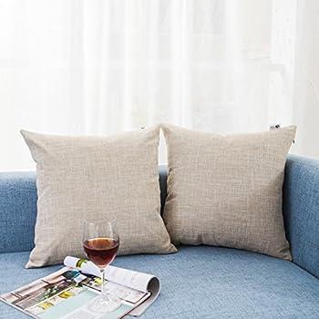 """Kevin Textile Decor Lined Linen Pillow Cover Euro Throw Pillowcase Cushion Cover Pillow Sham for Sofa, Hidden Zipper, 18""""x18""""(2 Pieces, Natural Linen)"""