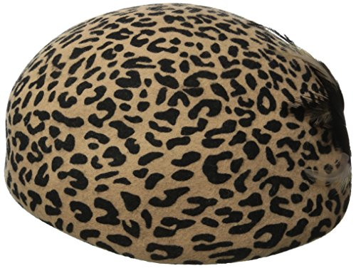 San Diego Hat Company Women's Wool Felt Leopad Beret Hat with Feather Bow, Leopard, One Size