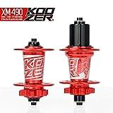 Extrbici Koozer HA02N/HA04N CNC MTB Mountain Bike Hubs Set 2/4 Bearings MTB 32 Holes Front & Rear Red
