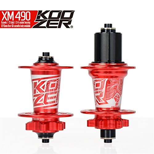 (Extrbici Koozer HA02N/HA04N CNC MTB Mountain Bike Hubs Set 2/4 Bearings MTB 32 Holes Front & Rear Red)