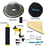 TELESIN T05 Dome Port for GoPro Hero 2018, Hero 5 Hero 6 Black, 6'' Dome Lens Housing Underwater Shooting Dome with Floating Hand Grip, and Pistol Trigger with Phone Clamp + Tripod Mount for Cellphones
