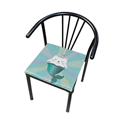 "Bardic HNTGHX Outdoor/Indoor Chair Cushion Colorful Ocean Mermaid Square Memory Foam Seat Pads Cushion for Patio Dining, 16"" x 16"": Home & Kitchen"