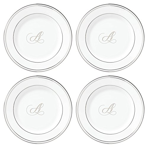 (Lenox Federal Platinum Script Monogram Dinnerware Tidbit Plates, Set of 4, A)