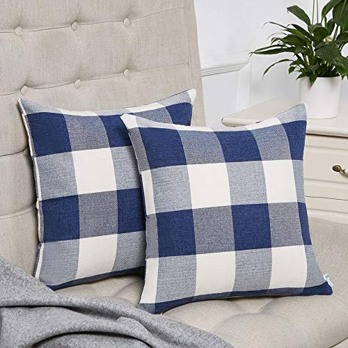 Anickal Set of 2 Navy Blue and White Buffalo Check Plaid Throw Pillow Covers Farmhouse Decorative Square Pillow Covers 18x18 Inches for Home Decor