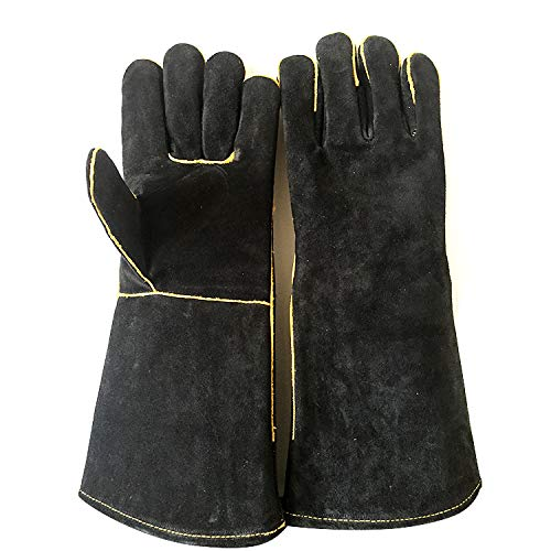 Extreme Heat & Fire Resistant Gloves Leather Perfect for Fireplace, Stove, Oven Mitt, Grill Pit, Welding, Furnace,BBQ,Mig, Pot Holder,Black,16 Inch Home & Kitchen (Color : Black, Size : L-One Pair) by YAOSHIBIAN-Oven Mitts (Image #8)