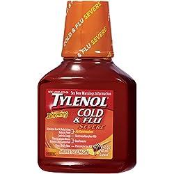 Tylenol Cold + Flu Severe Warming Honey Lemon Liquid, 8 Oz.