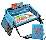 kids travel play tray - Kids Travel Play Tray – Activity, Snack Tray & Organizer For Car Seat, Stroller Or Airplane traveling – Keeps Children Entertained – Portable And Foldable + FREE Bag & E-BOOK (Blue)