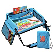 Kids Travel Play Tray – Activity, Snack Tray & Organizer for Car Seat, Stroller Or Airplane Traveling – Keeps Children Entertained – Portable and Foldable + Free Bag & E-Book (Blue) …