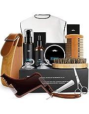 Baardverzorgingsset, fixget baardverzorgingsset voor mannen wildzwijnharen baardborstel baardkam & baardolie & baardschaar & canvas reistas, ideale geschenkset heren