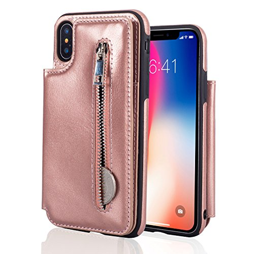 IPhone X wallet case folio leather cover with zipper cash coin pocket 3 card holder coin 360 full protective shell include snap fastener for 5.8 inch iPhone X (rose gold) - Prima Checkbook Wallet
