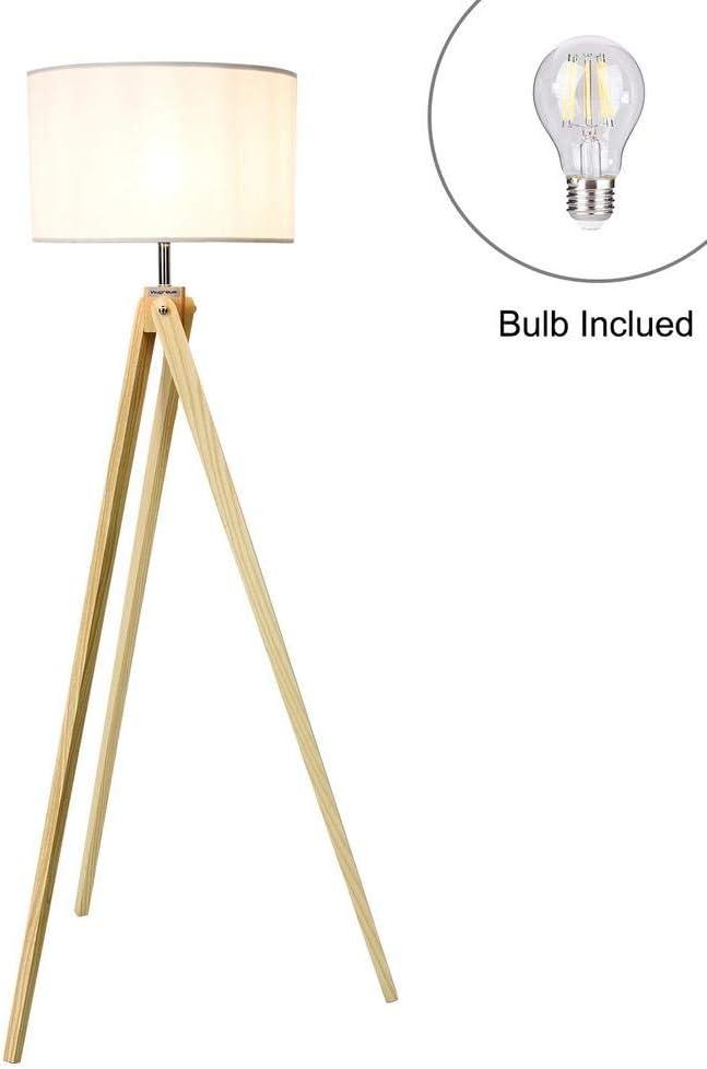 Yunt-11 Lámpara de pie LED, con Pantalla de Tela TC, lámpara de pie LED con Patas de Madera, lámpara de Lectura para Coser, Sala de Estar, Dormitorio, Oficina, E27, Blanco: Amazon.es: Hogar