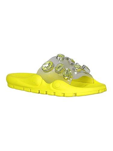 bcbe567265fca Women Rhinestone Translucent Lug Embossed Slide Sandals RC52