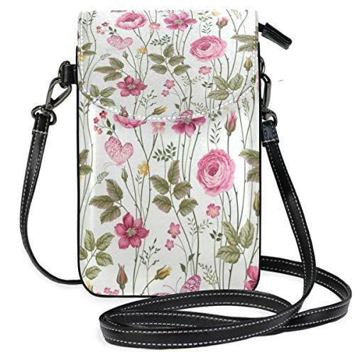 Spring Floral Rose Summer Small Crossbody Bag, Cell Phone Purse Wallet with 2 Adjustable Shoulder Strap Handbag for ()