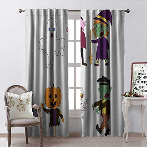 Hengshu Halloween Cartoon Sticker Room Darkening Wide Curtains Waterproof Window Curtain W72 x L84