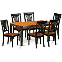 East West Furniture NIPL7-BCH-W 7 Piece Dining Table and 6 Solid Wood Chairs Set