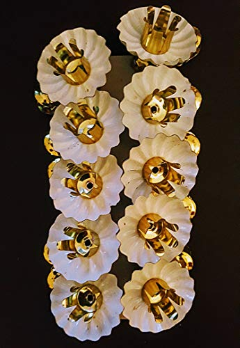 merry*kitschmas Classic Fluted Christmas Candle Clip Holder, 15 mm, White/Gold Color