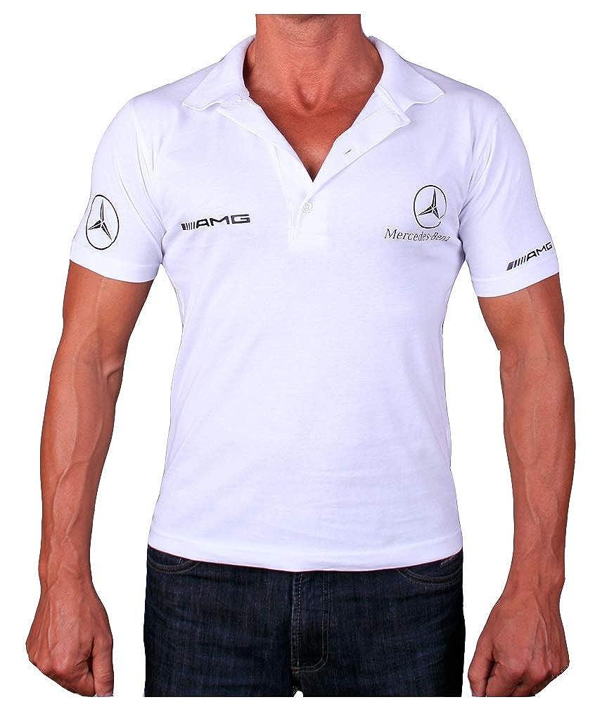 4XL Mercedes AMG Benz Polo Logotipo Collar Etiqueta Pegatinas de la Camiseta Blanco Logo Polo de Deporte Algod/ón