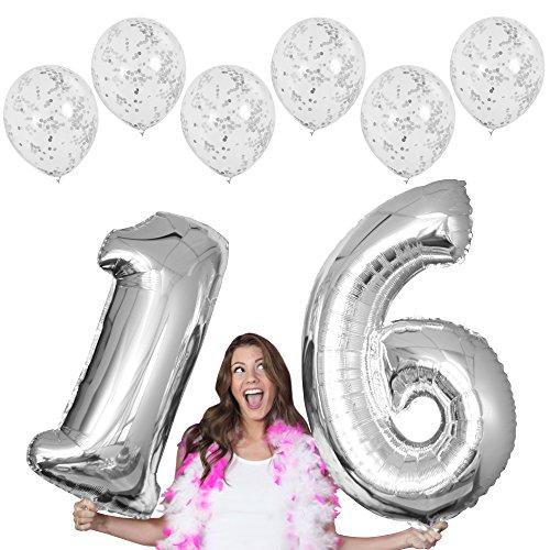 RhinestoneSash 34 Giant Silver 16 Foil Mylar Balloon & Set of 6 Matte Silver Confetti Clear Balloons - 16th Birthday Decorations (Silver)) - Baln(16 conf) Silver