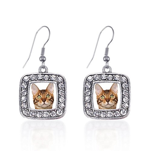 Inspired Silver Bengal Cat Classic Charm Earrings Square French Hook Clear Crystal Rhinestones