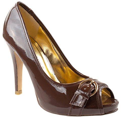 Chaussures Point De Pied Femmes Frank-03 Peep Toe Pu / Plate-forme Cachée Métallique Talons Hauts Avec Boucle Décorative Marron