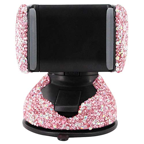 (Radish Stars Adjustable Strong Sticky Dashboard and Various Car Phone Mount Crystal Rhinestone Phone Holder for Car)