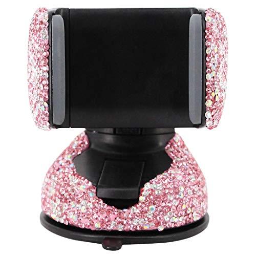 Radish Stars Adjustable Strong Sticky Dashboard and Various Car Phone Mount Crystal Rhinestone Phone Holder for Car (Phone Rhinestone Cell Pink)