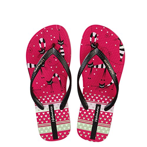 Rosa Hotmarzz Playa Flip Mujer Chanclas para Rojo Zapatillas Ducha Sandalias Flops Verano Gato Piscina F4FrB